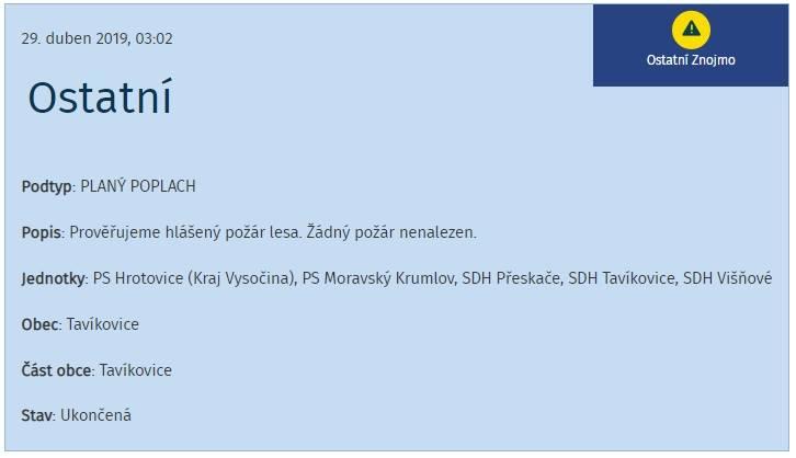 Výjezd jSDH Višňové – 29.04.2019 03:03:01 POŽÁR – LESNÍ POROST – TAVÍKOVICE